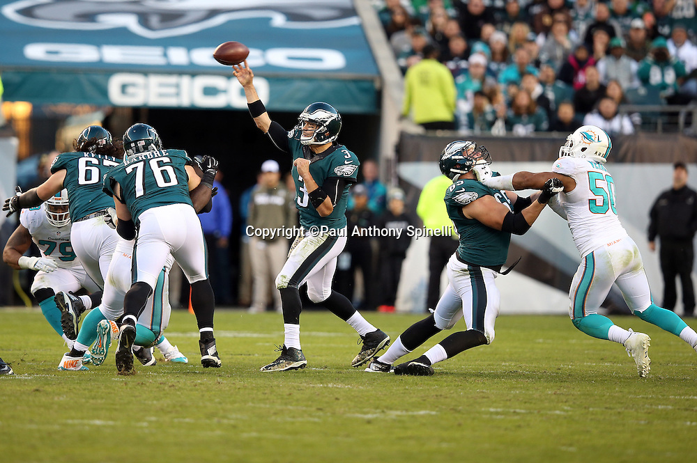 Philadelphia Eagles quarterback Mark Sanchez (3) throws a pass during the 2015 week 10 regular season NFL football game against the Miami Dolphins on Sunday, Nov. 15, 2015 in Philadelphia. The Dolphins won the game 20-19. (©Paul Anthony Spinelli)