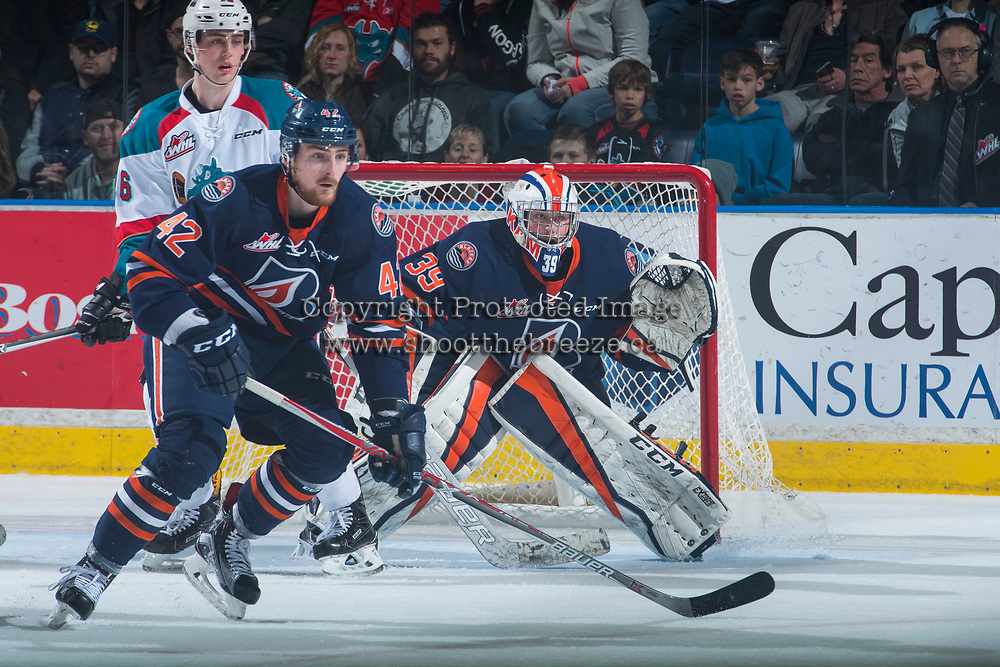 KELOWNA, CANADA - MARCH 31: Ondrej Vala #42 blocks the net of Connor Ingram #39 of the Kamloops Blazers against the Kelowna Rockets on March 31, 2017 at Prospera Place in Kelowna, British Columbia, Canada.  (Photo by Marissa Baecker/Shoot the Breeze)  *** Local Caption ***