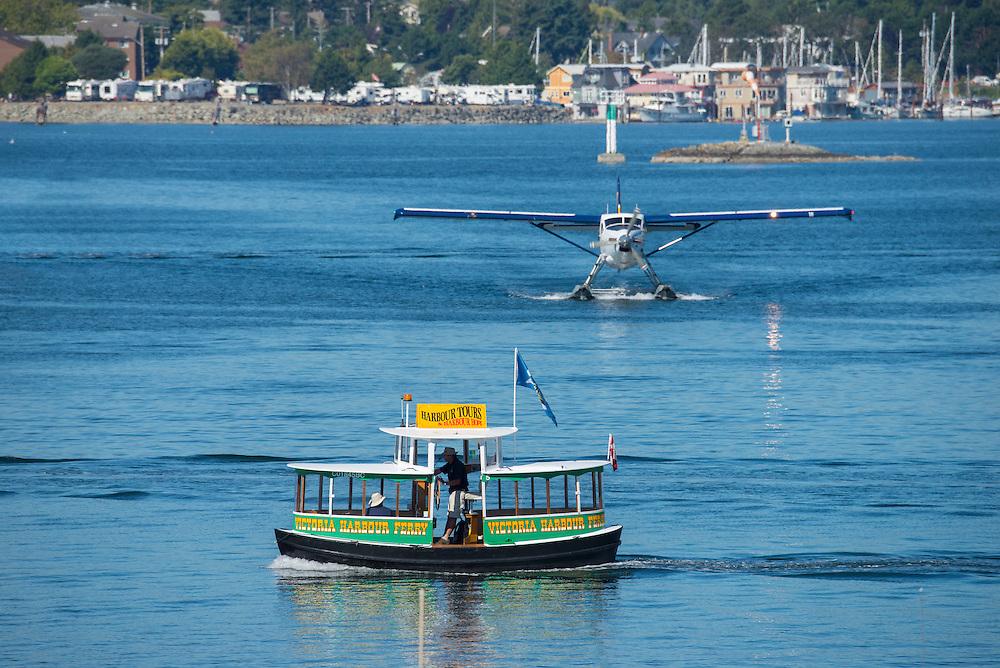 Canada, British Columbia, Vancouver Island, Victoria, Float plane, water taxi, harbor