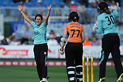Natalie Sciver of Surrey Stars successfully appeals for the wicket of Arran Brindle who was adjudged to be out LBW  during the Women's Cricket Super League match between Southern Vipers and Surrey Stars at the 1st Central County Ground, Hove, United Kingdom on 14 August 2018.