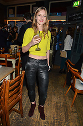 OLYMPIA CAMPBELL at a quiz night hosted by Zoe Jordan to celebrate the launch of her men's ZJKNITLAB collection held at The Larrick Pub, 32 Crawford Place, London on 20th April 2016.