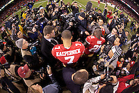 12 January 2013: Quarterback (7) Colin Kaepernick of the San Francisco 49ers is interviewed by the media after defeating the Green Bay Packers 45-31in an NFL Divisional Playoff Game at Candlestick Park in San Francisco, CA.