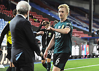Football - 2019 / 2020 Premier League - Crystal Palace vs Burnley<br /> <br /> Goalscorer , Mee of Burnley is congratulated by Palace Manager, Roy Hodgson after the match at Selhurst Park<br /> <br /> COLORSPORT/ANDREW COWIE