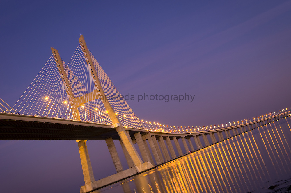 Ponte Vasco da Gama in Lisbon at dusk