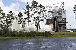August 30, 2017 - St. Louis, Mississippi, U.S. - NASA engineers closed a summer of successful hot fire testing for flight controllers on RS-25 engines that will help power the new Space Launch System (SLS) rocket, being built to carry astronauts to deep-space destinations, including Mars. The space agency capped off summer testing with a 500-second hot fire of a fifth RS-25 engine flight controller unit on the A-1 Test Stand at Stennis Space Center near Bay St. Louis, Mississippi. The controller serves as the 'brain' of the engine, communicating with SLS flight computers to ensure engines are performing at needed levels. The test marked another step toward the nation's return to human deep-space exploration missions. NASA (Credit Image: ? NASA/ZUMA Wire/ZUMAPRESS.com)