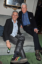 Left to right, RIFAT OZBEK and NICKY HASLAM at a dinner hosted by Bella Freud for German artist Marcel Odenbach at her home 275 Kensal Road, London W10 on 6th June 2011.