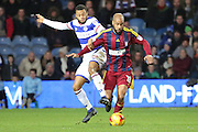 Queens Park Rangers midfielder Jordan Cousins (8) battles for possesion with Ipswich Town striker David McGoldrick (10) during the EFL Sky Bet Championship match between Queens Park Rangers and Ipswich Town at the Loftus Road Stadium, London, England on 2 January 2017. Photo by Matthew Redman.