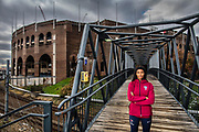 Captain of The Ivy League co-champion Penn Women's Soccer team, Camillia Nwokedi stands on Goldie Paley Memorial Bridge at the University of Pennsylvania in Philadelphia, Pennsylvania on November 16, 2018.