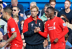 LONDON, ENGLAND - Saturday, October 31, 2015: Liverpool's manager Jurgen Klopp prepares to bring on substitute Christian Benteke during the Premier League match against Chelsea at Stamford Bridge. (Pic by Lexie Lin/Propaganda)