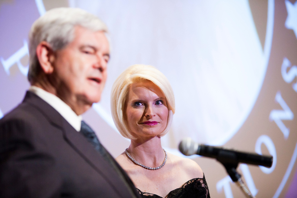 Former Speaker of the House Newt Gingrich and his wife Callista Gingrich introduce the movie A City Upon A Hill, which is hosted by the two of them, at a screening on Friday, April 29, 2011 in Washington, DC. Brendan Hoffman for the New York Times