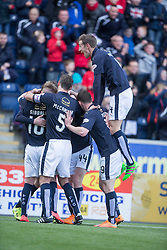 Falkirk's Paul Watson cele scoring their first goal. <br /> half time : Falkirk 2 v 0 Alloa Athletic, Scottish Championship game played 5/3/2016 at The Falkirk Stadium.