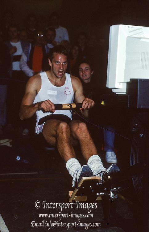 Henley. England. Steven REDGRAVE competing in the  1991. British Indoor Rowing Championships. Henley College. Henley on Thames.<br /> [Mandatory Credit: Peter SPURRIER/Intersport Images] 1991 British Indoor [Ergo] Rowing Championships, England Stock