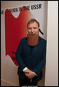 TONY CHAMBERS WEARING WOODEN BEARD- , Born in the USSR, Design exhibition opening. Gallery Elena Shchukina, Beauchamp Place, Knightsbridge. London. 15 September 2014.