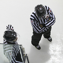 TORONTO, ON - SEP 11:  OHA Linesman during the pregame warm-up. OJHL regular season game between the St.Michael's Buzzers and the Georgetown Raiders St.Michael's Buzzers and Georgetown Raiders  on September 11, 2016 in Toronto, Ontario. (Photo by Tim Bates / OJHL Images)