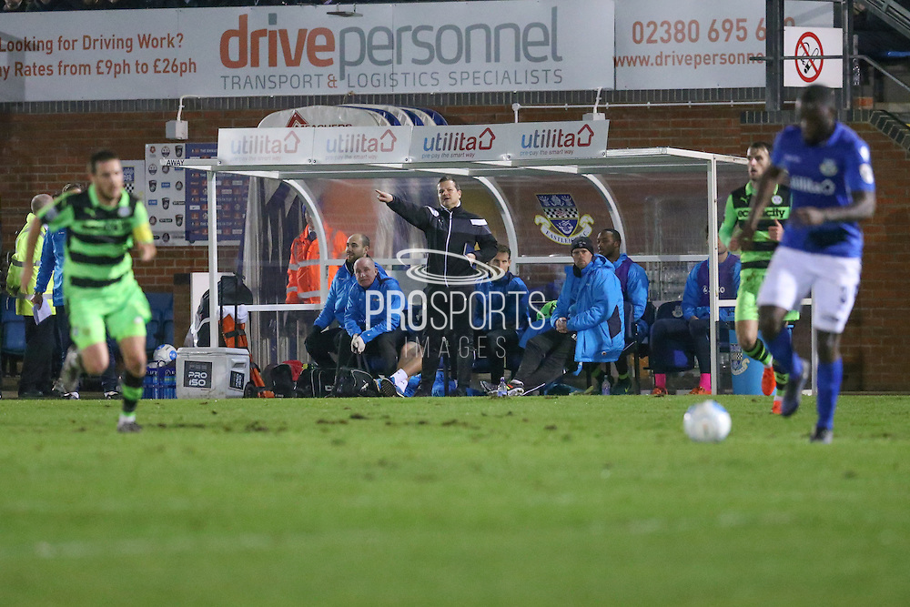 Forest Green Rovers manager, Mark Cooper shouts instructions during the Vanarama National League match between Eastleigh and Forest Green Rovers at Arena Stadium, Eastleigh, United Kingdom on 10 January 2017. Photo by Shane Healey.