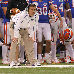 Jan 01, 2010; New Orleans, LA, USA; Florida Gators head coach Urban Meyer watches from the sideline during the 2010 Sugar Bowl at the Louisiana Superdome. Florida defeated Cincinnati 51-24.  Mandatory Credit: Derick E. Hingle-US PRESSWIRE.