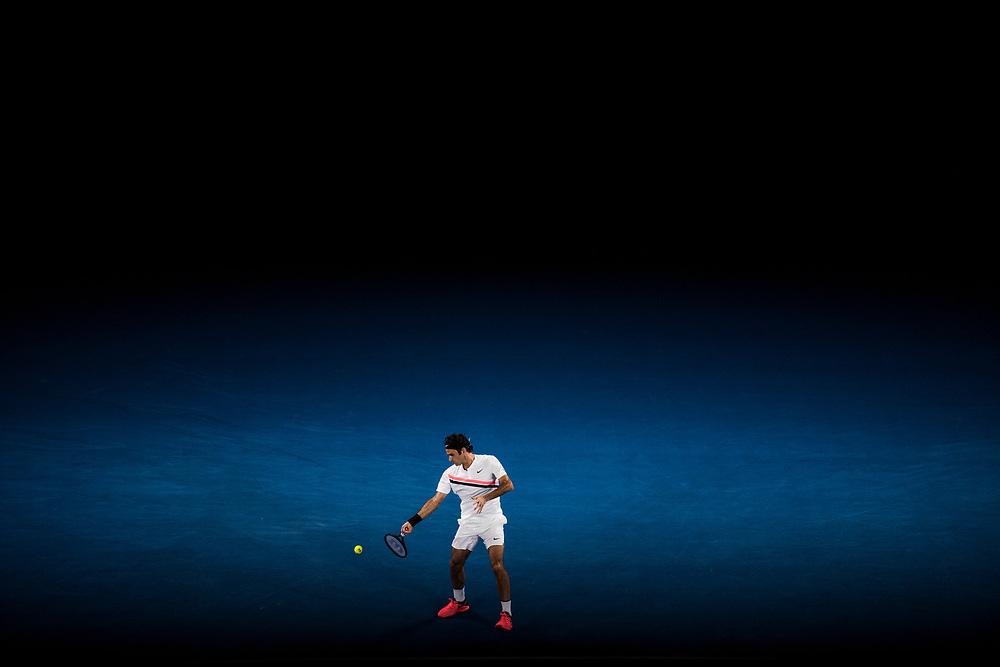 Roger Federer of Switzerland during the 2018 Australian Open on day 12 in Melbourne, Australia on Friday night January 26, 2018.<br /> (Ben Solomon/Tennis Australia)