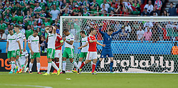 PARIS, FRANCE - Saturday, June 25, 2016: Wales' Ben Davies and goalkeeper Wayne Hennessey celebrate at the final as Northern Ireland's Stuart Dallas and Josh Magennis look dejected after the 1-0 victory over Northern Ireland during the Round of 16 UEFA Euro 2016 Championship match at the Parc des Princes. (Pic by David Rawcliffe/Propaganda)
