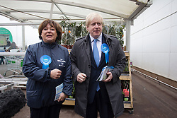Maria Hutchings and Boris Johnson canvassing. London Mayor Boris Johnson joins Conservative candidate Maria Hutchings to campaign at The Asda supermarket in Eastleigh, UK, 20 February, 2013. Photo by: i-Images