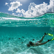 Girl freediving among sea stars in the Bahamas