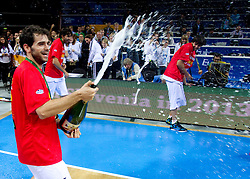 Jose Calderon of Spain celebrates after the final basketball game between National basketball teams of Spain and France at FIBA Europe Eurobasket Lithuania 2011, on September 18, 2011, in Arena Zalgirio, Kaunas, Lithuania. Spain defeated France 98-85 and became European Champion 2011, France placed second and Russia third. (Photo by Vid Ponikvar / Sportida)