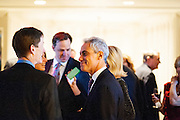 "Photo by Matt Roth.Assignment ID: 10137379A..Chicago Mayor Rahm Emanuel talks to an attendee of Buffy and Bill Cafritz, Ann and Vernon Jordan, Vicki and Roger Sant's inaugural ""Bi-Partisan Celebration"" at the Dolley Madison Ballroom at the Madison Hotel in Washington, D.C. on Sunday, January 20, 2013."