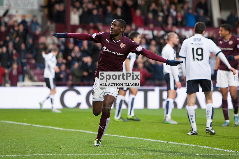Arnauld Sutchuin of Hearts opens the scoring during the Ladbrokes Scottish Premiership match between Heart of Midlothian FC and Dundee FC at Tynecastle Stadium on November 21, 2015 in Edinburgh, Scotland. Photo by Jonathan Faulds/SportPix