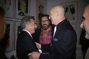 Dustin Hofman, Julian Schnabel and Georg Baselitz, Georg Baselitz, Royal Academy. 18 September 2007. -DO NOT ARCHIVE-© Copyright Photograph by Dafydd Jones. 248 Clapham Rd. London SW9 0PZ. Tel 0207 820 0771. www.dafjones.com.