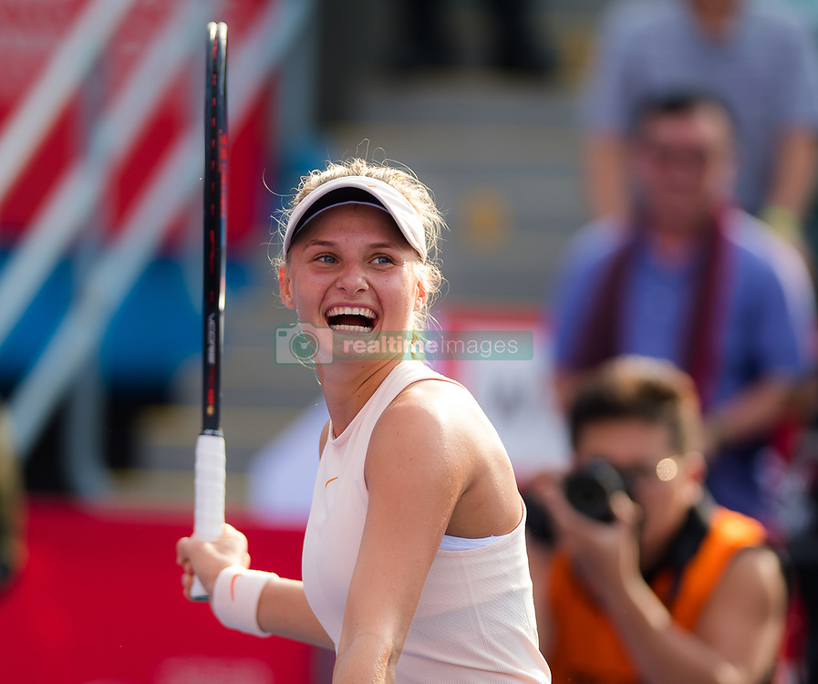 October 12, 2018 - Dayana Yastremska of the Ukraine celebrates winning her quarter-final match at the 2018 Prudential Hong Kong Tennis Open WTA International tennis tournament (Credit Image: © AFP7 via ZUMA Wire)