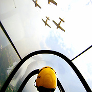 Pilot Jim Martin, takes a practice flight over Gary, Indiana along with fellow members of the Lima Lima Flight Team. Lima Lima and other acts were preparing to fly in the Chicago Air & Water Show along the Chicago lakefront.