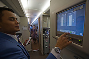 Airbus A380 first commercial flight - Singapore Airlines SQ 380 Singapore-Sydney on October 25, 2007. Computer system of the galley.