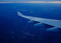 CASABLANCA, MOROCCO - CIRCA APRIL 2017: Airplane over Morocco at dawn