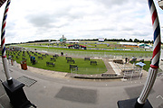 A general view of York Racecourse and the Knavesmire from the Press Box prior to during the John Smiths Cup Meeting at York Racecourse, York, United Kingdom on 12 July 2019.
