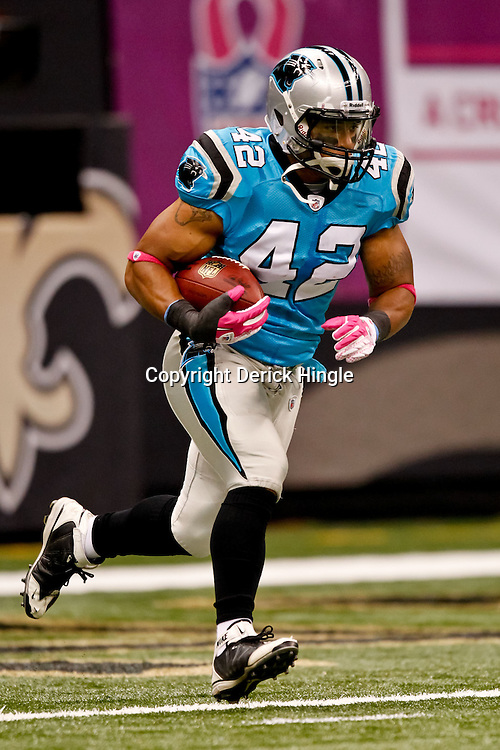 October 3, 2010; New Orleans, LA, USA; Carolina Panthers running back Tony Fiammetta (42) during warm ups prior to kickoff of a game between the New Orleans Saints and the Carolina Panthers at the Louisiana Superdome. Mandatory Credit: Derick E. Hingle
