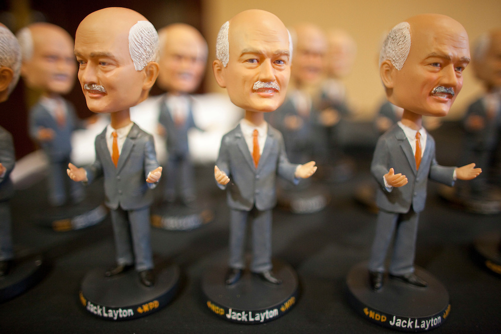 London, ONT.; April 4, 2011--  Bobblehead dolls of NDP leader Jack Layton are for sale at a NDP  rally in London, Ontario, April 4, 2011. A local company is producing bobbleheads of all the leaders.<br /> <br /> (GEOFF ROBINS/ Postmedia News)