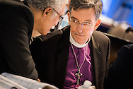 The Rev. Dr. Scott Murray, newly elected LCMS second vice-president, talks with the Rev. Nabil Nour, newly-elected LCMS third vice-president, following elections during the 66th Regular Convention of The Lutheran Church–Missouri Synod on Sunday, July 10, 2016, at the Wisconsin Center in Milwaukee. LCMS/Michael Schuermann