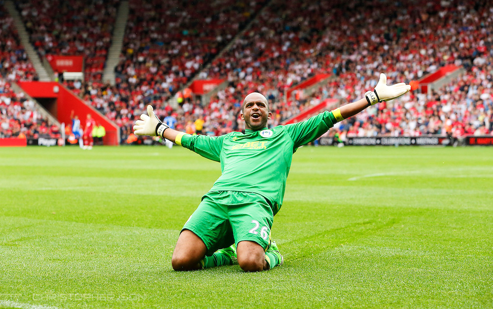Wigan keeper Ali Al-Habsi celebrates Franco Di Santo's early goal in the second half against Southampton in the Barclays Premiership at St Mary's Stadium in Southampton.