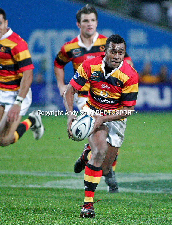 Waikato wing Sitiveni Sivivatu (front) looks to pass the ball during the Air New Zealand Cup week 3 rugby union match between Waikato and Canterbury at Waikato Stadium in Hamilton, New Zealand on Friday 11 August 2006. Photo: Andy Song/PHOTOSPORT