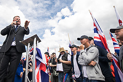 © Licensed to London News Pictures . 22/07/2017 . Rochdale , UK . PAUL GOLDING speaks at the rally . Britain First hold a demonstration in Rochdale , opposed by anti-fascist groups . Britain First say they are highlighting concerns about child sexual exploitation in the town . Photo credit: Joel Goodman/LNP