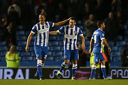 Brighton's Bobby Zamora celebrates their win over Bristol City tonight - Mandatory byline: Jason Brown/JMP - 07966 386802 - 20/10/2015 - FOOTBALL - American Express Community Stadium - Brighton,  England - Brighton & Hove Albion v Bristol City - Championship