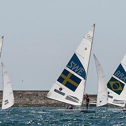 2012 Olympic Games London / Weymouth<br /> Star Medal Race<br /> Percy Iain, Simpson Andrew, (GBR, Star)<br /> Loof Fredrik, Salminen Max, (SWE, Star)<br /> Scheidt Robert, Prada Bruno, (BRA, Star)