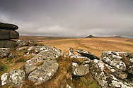 Tor, rock formations on the top of the hills, very common at Dartmoor