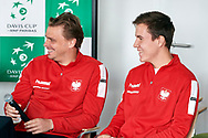 Sopot, Poland - 2018 April 06: (L) Marcin Matkowski from Poland and Daniel Michalski from Poland smile while press conference after Meet & Greet event one day before Poland v Zimbabwe Tie Group 2, Europe/Africa Second Round of Davis Cup by BNP Paribas at 100 years of Sopot Hall on April 06, 2018 in Sopot, Poland.<br /> <br /> Mandatory credit:<br /> Photo by © Adam Nurkiewicz / Mediasport<br /> <br /> Adam Nurkiewicz declares that he has no rights to the image of people at the photographs of his authorship.<br /> <br /> Picture also available in RAW (NEF) or TIFF format on special request.<br /> <br /> Any editorial, commercial or promotional use requires written permission from the author of image.