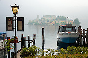 Isola San Giulio as seen from the harbor of Orta San Giulio, Piedmont, Italy.