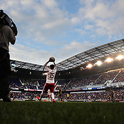Bobby Convey, New York Red Bulls, takes a throw-in  during the New York Red Bulls Vs Portland Timbers, Major League Soccer regular season match at Red Bull Arena, Harrison, New Jersey. USA. 24th May 2014. Photo Tim Clayton