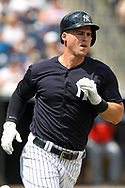 March 18, 2018 - Tampa, FL, U.S. - TAMPA, FL - MAR 18: Tyler Austin (26) of the Yankees hustles down to first base during the game between the Miami Marlins and the New York Yankees on March 18, 2018, at George M. Steinbrenner Field in Tampa, FL. (Photo by Cliff Welch/Icon Sportswire) (Credit Image: © Cliff Welch/Icon SMI via ZUMA Press)