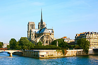 Notre Dame de Paris carhedral on the la seine riverside
