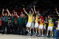 13.09.2014, City Arena, Madrid, ESP, FIBA WM, Frankreich und Litauen, Entscheidungsspiel zwischen Platz 3 und 4, im Bild Lithuania´s players at the bench celebrate // during FIBA Basketball World Cup Spain 2014 playoff match place 3 and 4 between France and Lithuania at the City Arena in Madrid, Spain on 2014/09/13. EXPA Pictures © 2014, PhotoCredit: EXPA/ Alterphotos/ Victor Blanco<br /> <br /> *****ATTENTION - OUT of ESP, SUI*****