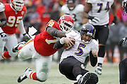 Joe Flacco of the Baltimore Ravens is brought down by Glenn Dorsey (72) of the Kansas City Chiefs during the AFC Wild Card Playoff game at Arrowhead Stadium on Jan. 9, 2011 in Kansas City, MO.