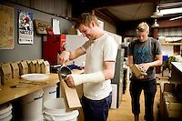 Cousins Brad Butler, left, and Brandon McGee, both 29, started the family business, Bicycle Coffee Company, two years ago. The San Francisco start-up is taking green to a new level, by delivering hand-roasted coffee to over 100 local businesses, in addition to Whole Foods, by bicycle only, on Monday, April 4, 2011.  Lianne Milton for The Wall Street Journal.Bay Area - Coffee Status